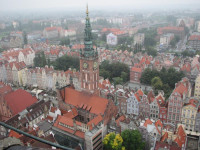 A view from the steeple of St. Mary's Church offers a bird's-eye view of the old Gdansk city hall.