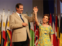 President Fox brought his wife, Marta, up on stage to announce that they would be donating the beautiful dress she was wearing for Wednesday's live auction, which benefits the Worldwide Foundation for Credit Unions.
