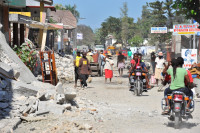 Haiti street rubble