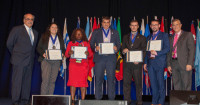 2018 WYCUP Scholarship Winners (Left-to-right) World Council President and CEO Brian Branch with WYCUP Scholarship winners Agnese Maria Borgazzi Calvo - Peru, Mambo Hariett Tangu – Cameroon, Lucas Araujo Dos Santos – Brazil, Carlos Antonio Soratto – Brazil, Robert O'Reilly – Ireland and Steven Stapp (Chair).