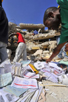 KOTELAM's Magoire Ambrose branch office in Port-au-Prince suffered severe damage. Staff members have set up a special office to aid members who have lost their records and identification.